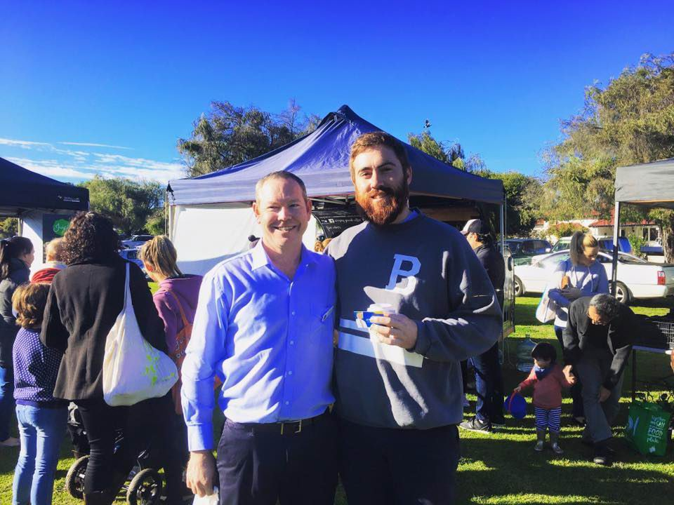 Federal Liberal candidate Jeremy Quinn and Street Roller Hockey League commissioner Eamonn Lourey.