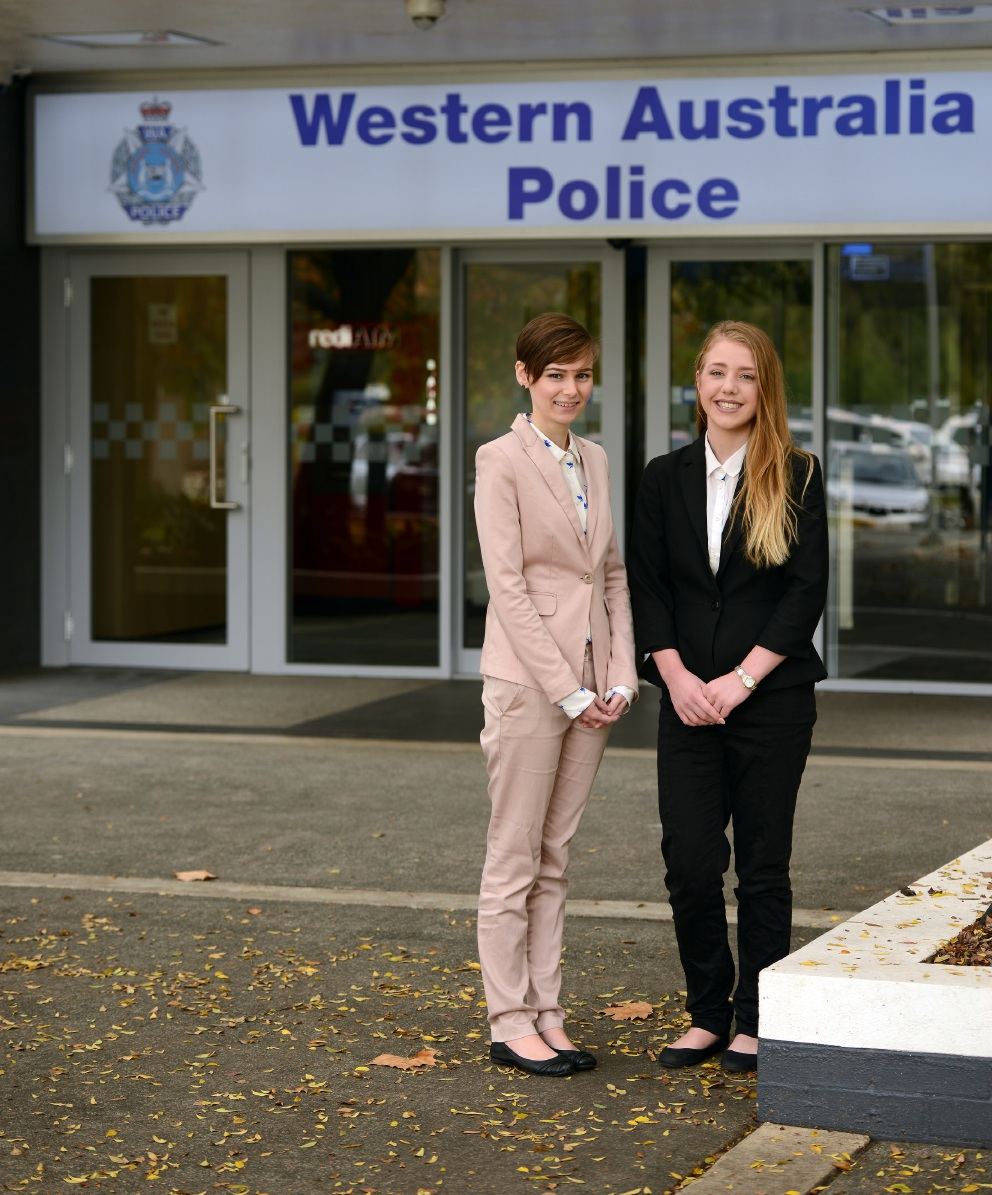 Murdoch University criminology students Rebecca Moore and Ashley-Marie Walters.