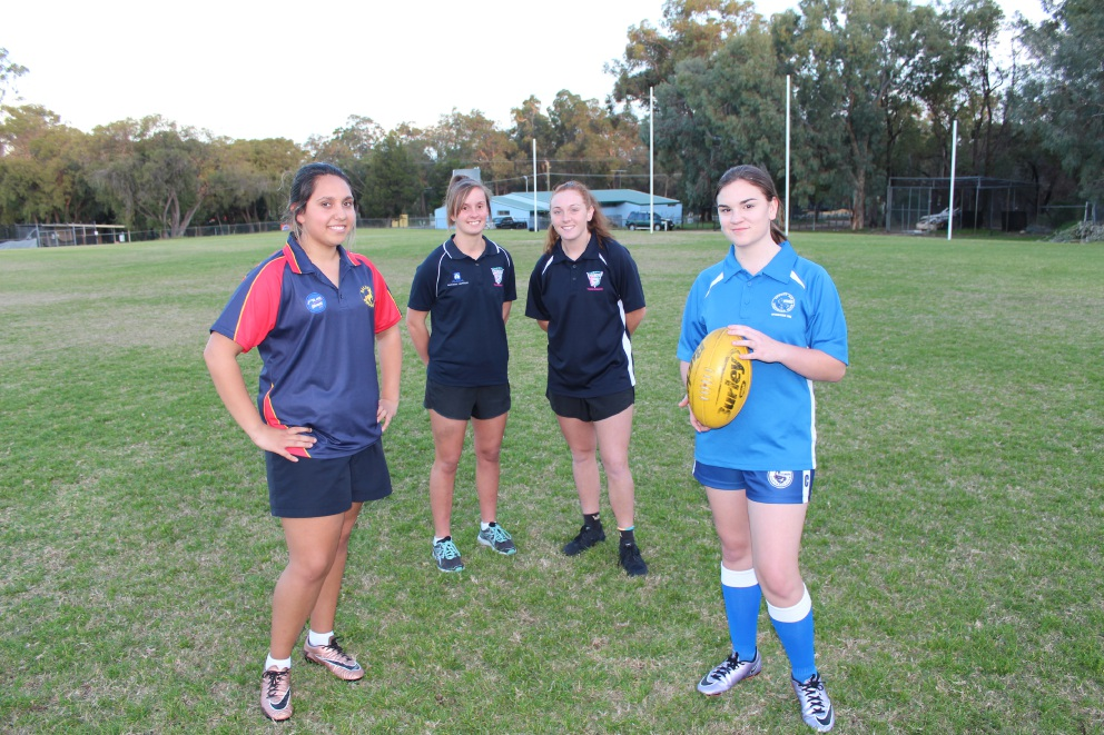 From left: Baldivis Brumby Mikaela Fitzgerald, Peel Thunderbirds Mikaela Schoenfeld and Sabreena Duffy and Safety Bay's Grace Wilson