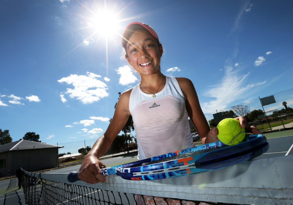 Crystal Mildwaters (14) of Maddington has recently returned from Adelaide after winning the Under-14 Girls National Grass Court Championship. Picture: Matt Jelonek d452891