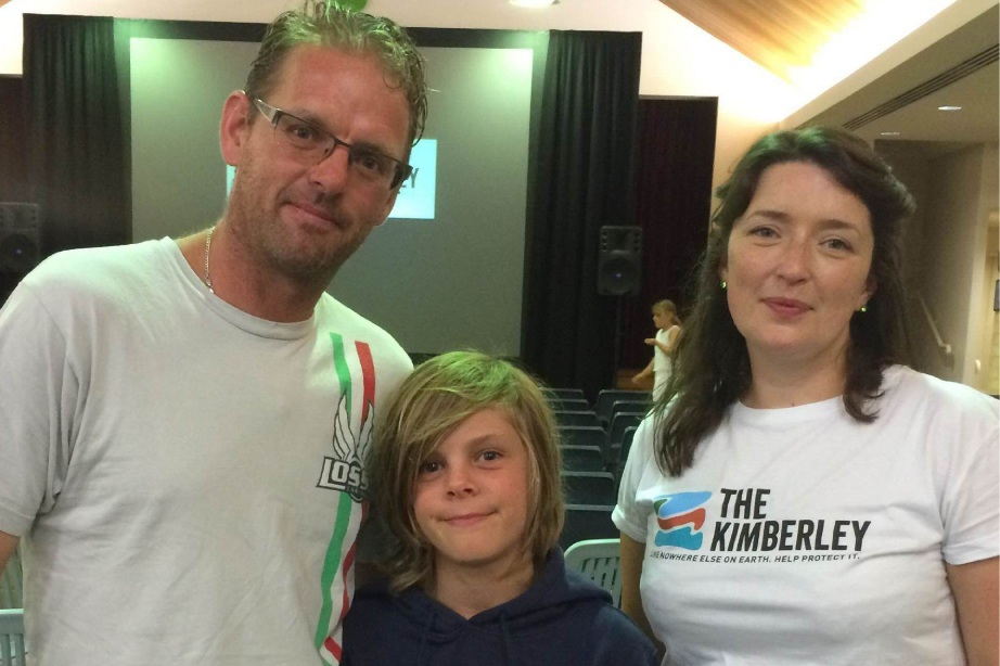 Chris Woolven with son Jack and Chantelle Roberts.