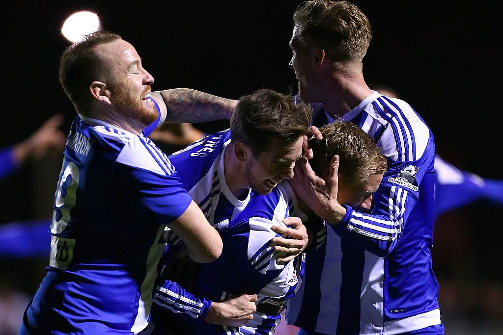 Floreat Athena players celebrate with Kris Gate after his equaliser during the FFA Cup Round of 32 match against Melbourne City at Dorrien Gardens last night. Picture: Paul Kane/Getty Images