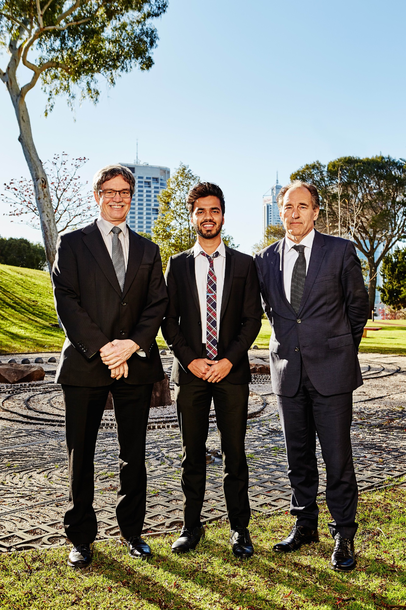 Sanket Wankhede with Minister for Energy Mike Nahan and Horizon Power's Frank Tudor.