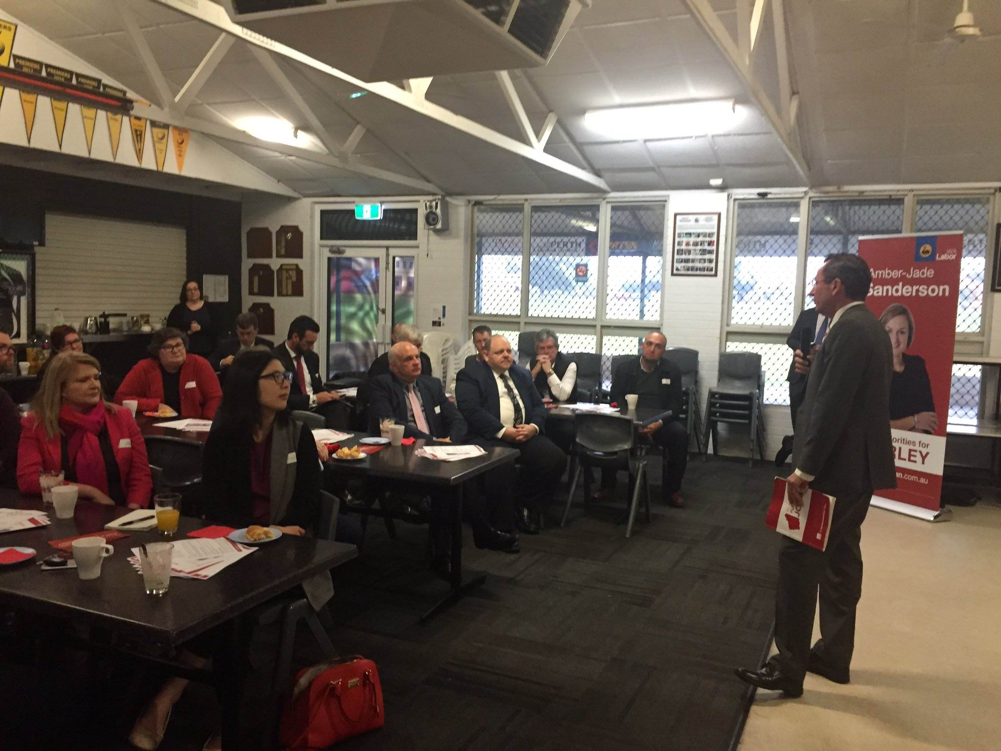 WA Labor Leader Mark McGowan addresses attendees of this morning's breakfast. Picture: Amber-Jade Sanderson/Twitter
