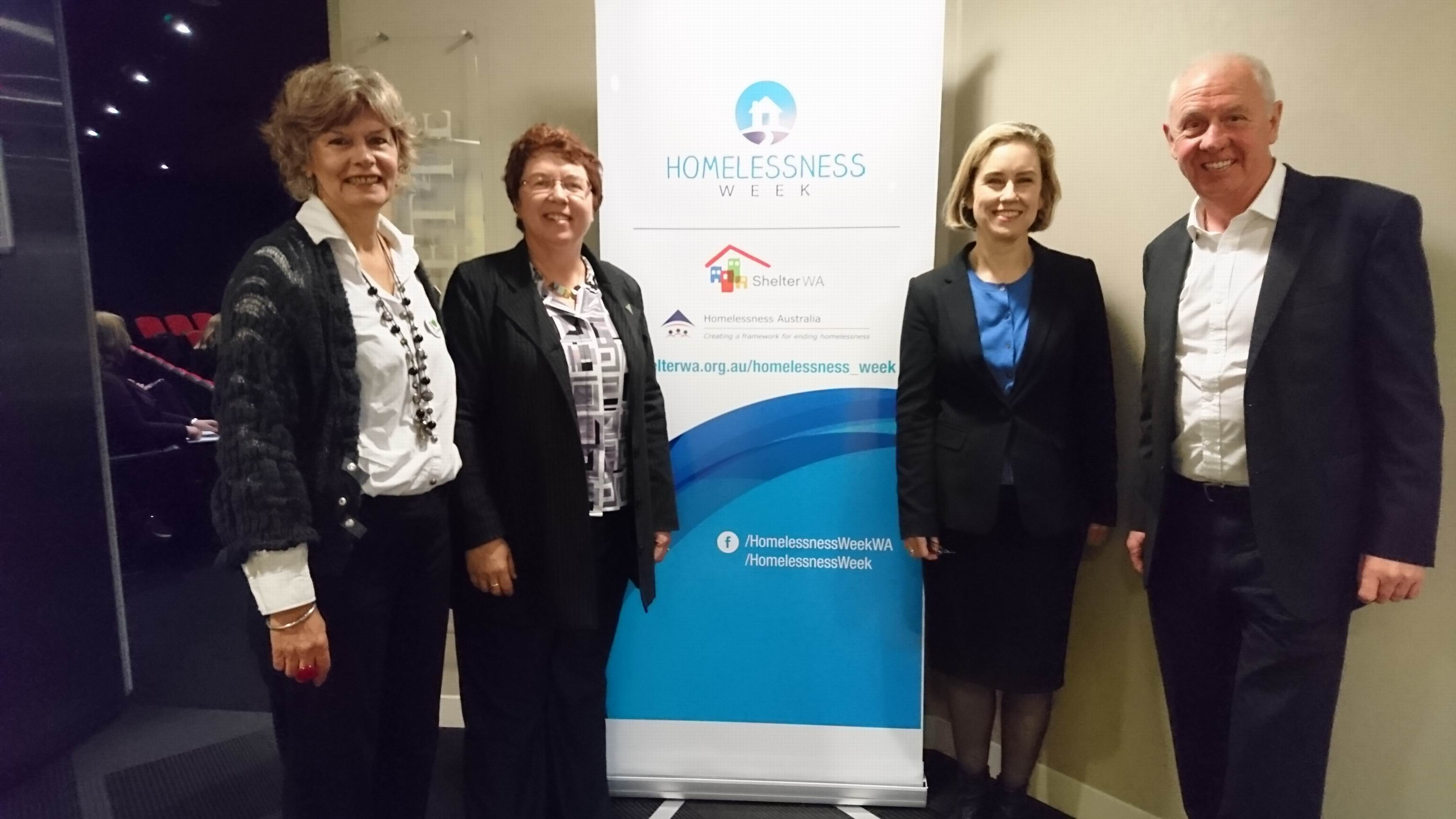 From left: Shelter WA Executive Officer Chantal Roberts, the Hon. Lynn MacLaren MLC (Greens, WA), Ms Simone McGurk MLA: Shadow Minister for Community Services,  Hon. Fran Logan MLA; Shadow Minister for Housing.