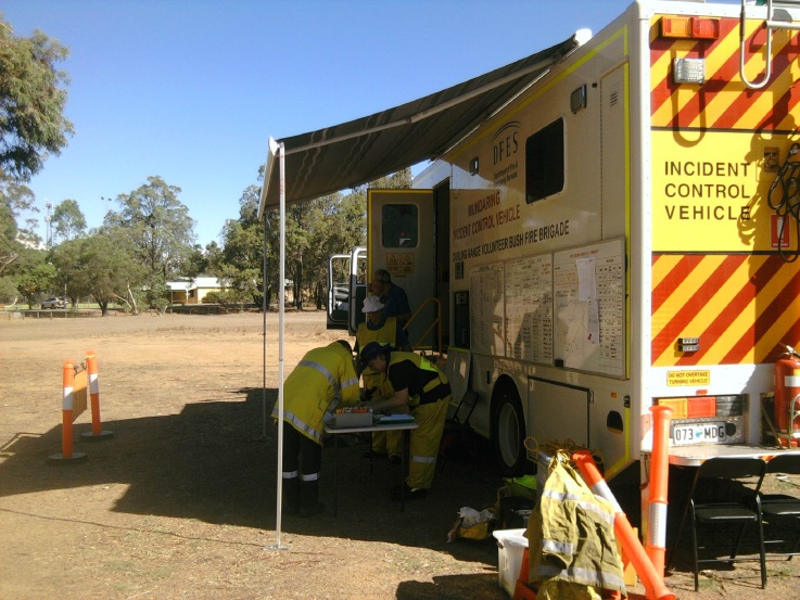 Picture shows emergency staff in action during a past simulated fire event.