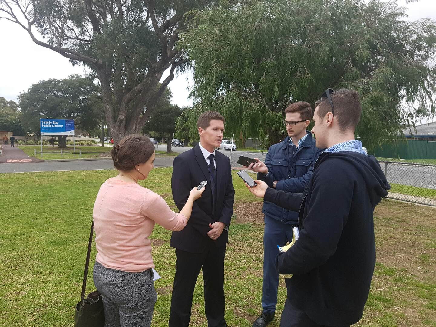 Detective Senior Constable Greg McDougall, of Rockingham Detectives, speaks to media at the scene of the assault.