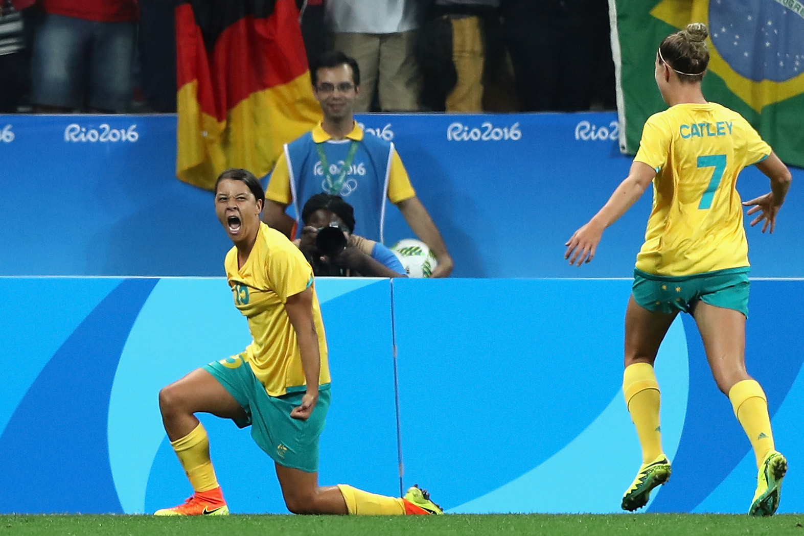 Sam Kerr celebrates opening the scoring against Germany. Picture: Getty