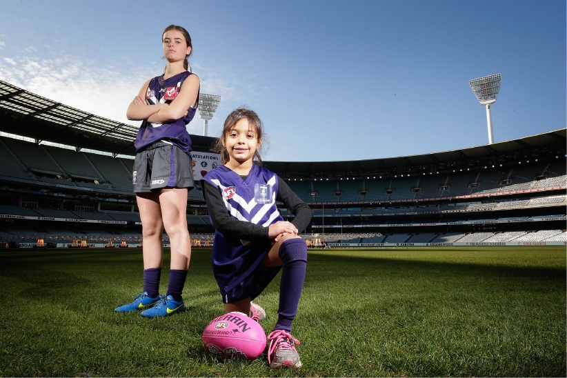 Polly Green and Zara Lilburne at the launch of the AFL women's league. Picture: Darrian Traynor/Stringer