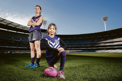 Polly Green and Zara Lilburne at the launch of the AFL women's league in June. |       Picture: Darrian Traynor/Stringer