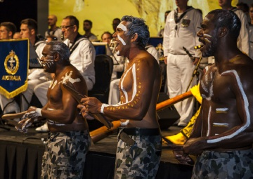 Petty Officer Samuel Sheppard (centre)  performs with the navy's indigenous performance group.