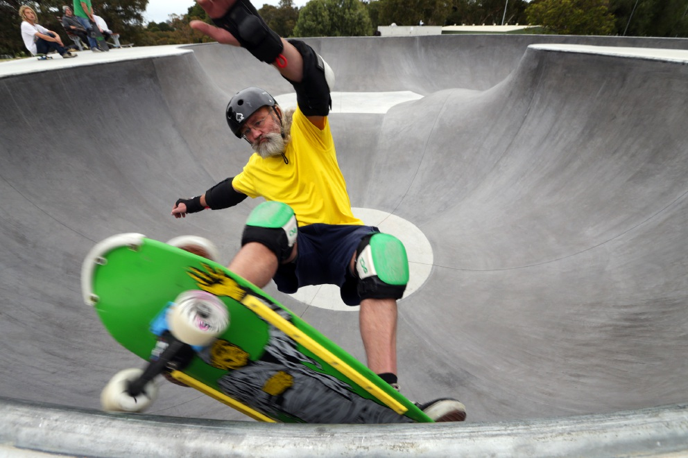 Steve Rock travelled all the way from Mandurah to try out the new skate park. Picture: Martin Kennealey www.communitypix.com.au d457694