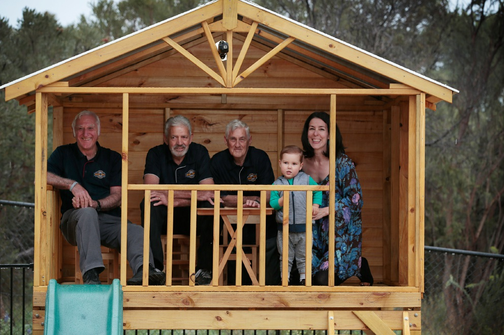 Lou DeCinque, John Della and Tom Fitzsimons from the Stirling Men's Shed with Michelle Hayes and her son Jack. Picture: Andrew Ritchie         d457699