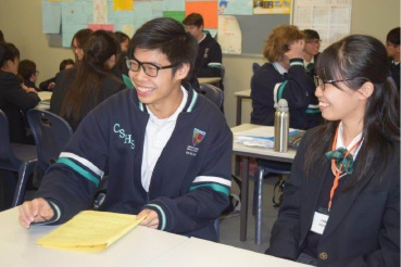 Churchlands SHS student Jeffrey Chiang with a Japanese exchange student