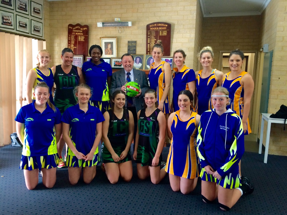 Swan Hills MLA Frank Alban with netballers from the Swan Districts Netball Association.