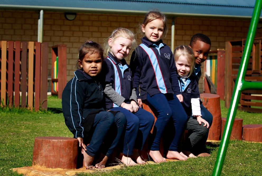 Pre-school children at Challis Primary School: Carla Lang (4), Lilly Morris (4), Haylee Kane (4), Aaliyah Wade (4) and Nehemiah Jaber (4). Picture: Marie Nirme