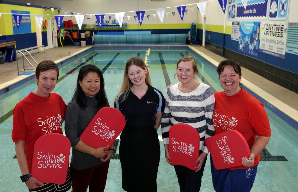 Swim instructor Lisa Mahon,Xiaoyan Yang (Yanchep),Jessica Cruickshank (Royal Life Saving WA inclusion officer),Dee Quin (Iluka) and Daria Keaton (swim instructor). Picture: Martin Kennealey