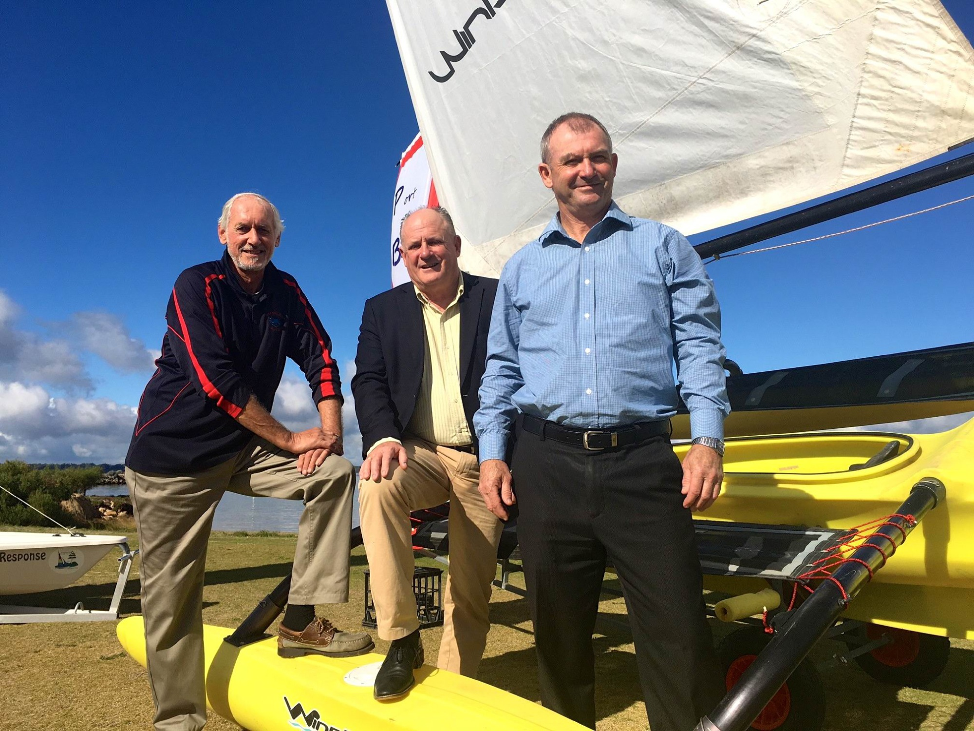 Commodore John Hunt, Peel development Commission chairman Paul Fitzpatrick and Dawesville MLA Kim Hames.