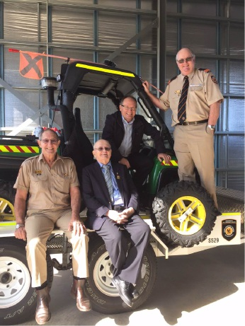 SES administration cadet officer Barry Doney, Mandurah MLA David Templeman, long time member Chris Stickland and Mandurah SES patron Syd Wilson on the new SES dune buggy.
