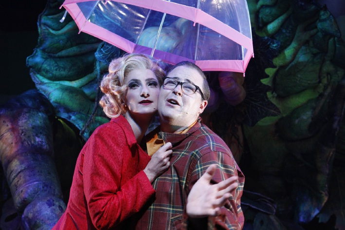 Esther Hannaford and Brent Hill as Audrey and Seymour in Little Shop of Horrors.