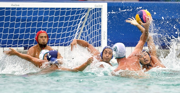 Japan face off against Australia during the men's water polo at the Rio de Janeiro Olympics on Aug. 10, 2016. Australia beat Japan 8-6. Picture: Kyodo News via Getty Images.