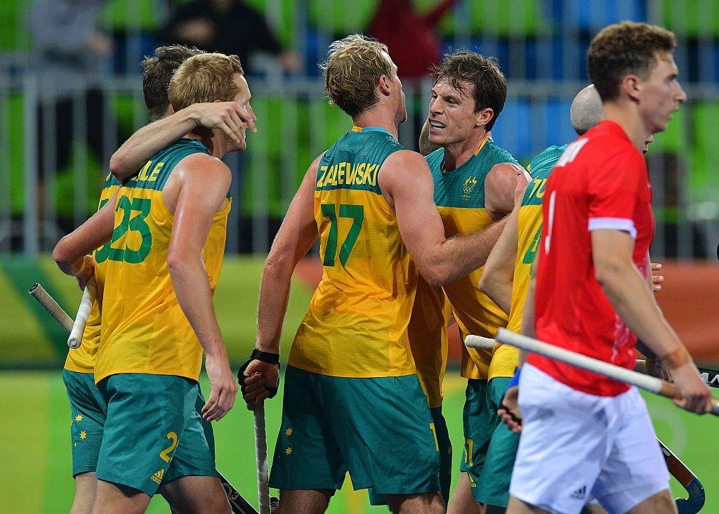 Australia's Aran Zalewski (17) celebrates scoring a goal with teammates. Picture: Carl De Souza/Getty Images