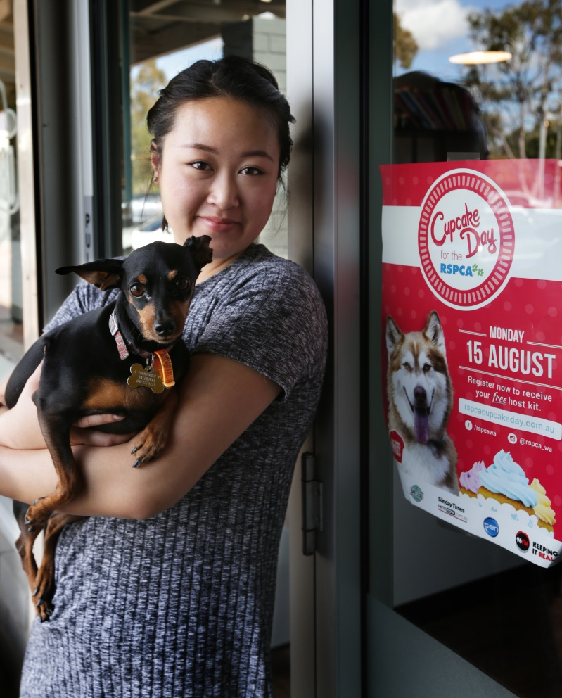 Baked 180 owner Jenny Nguyen with Choc Chip.