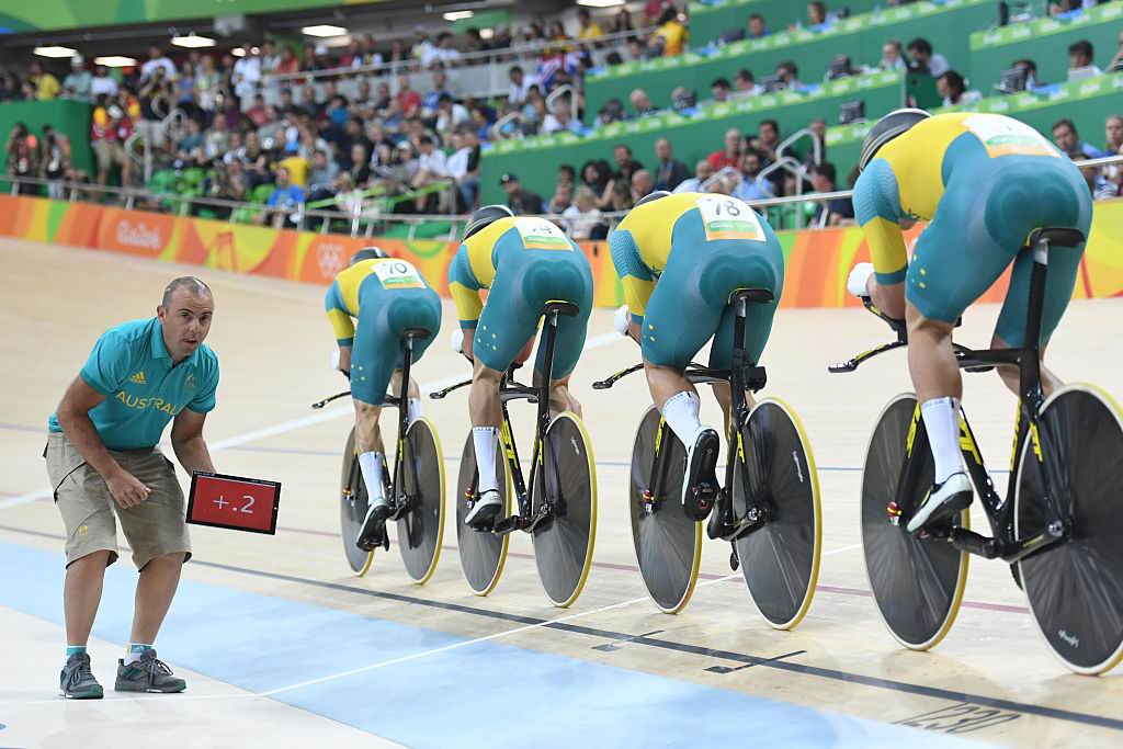 Australia's Alexander Edmondson, Jack Bobridge, Michael Hepburn and Sam Welsford compete in the men's Team Pursuit qualifying track cycling event at the Velodrome. Picture: Greg Baker/AFP/Getty Images