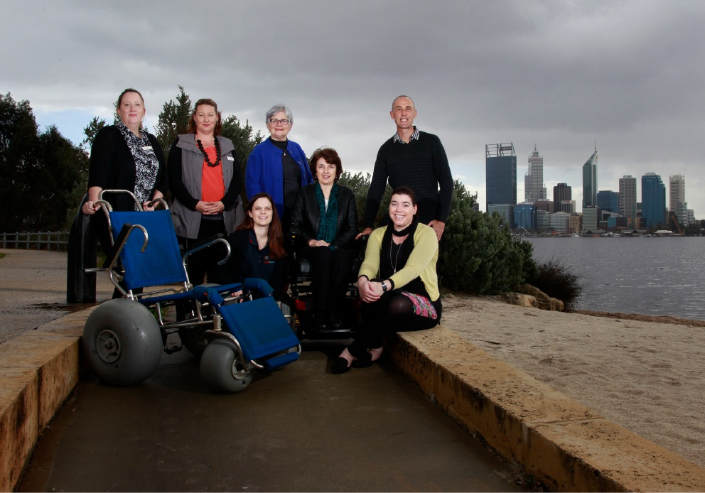 Kristina Kotua, South Perth Mayor Sue Doherty, Ros Harman, Wendy Spicer, Jocelyn Clements, Deena Appleby and Damien Hill at the access ramp at South Perth foreshore. Picture: Marie Nirme        www.communitypix.com.au   d457777