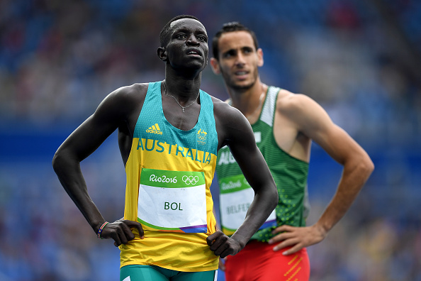 Peter Bol after completing his heat in the men's 800m running at the Rio Olympics.