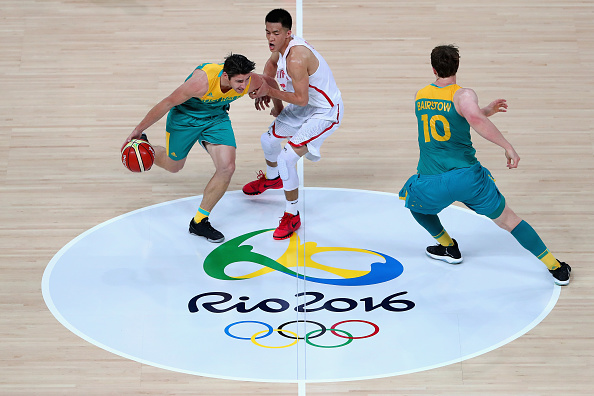 Damian Martin charges for the Boomers against China at the Rio Olympics. Picture: Getty Images.