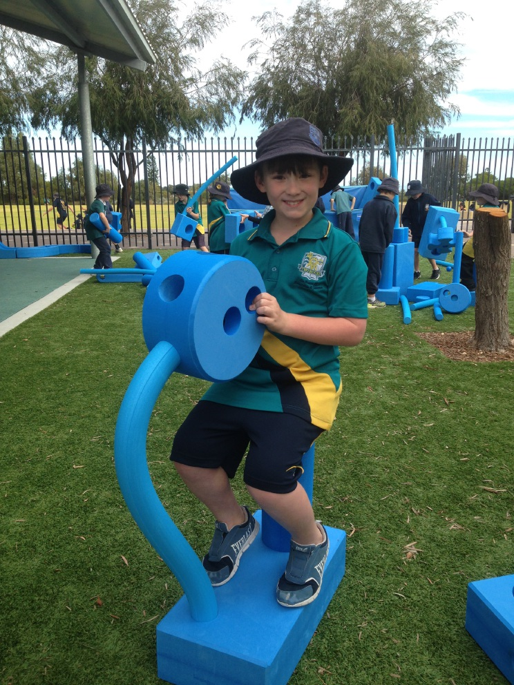 Two Rocks Primary students happy to be feeling blue in playground