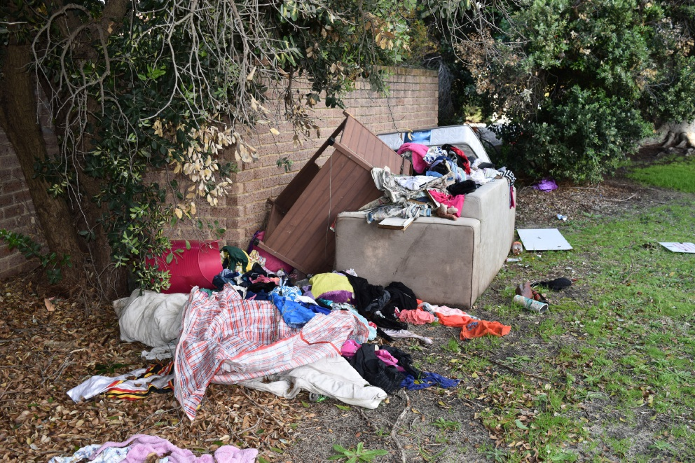 The dumped rubbish on Belgrave Crescent in Maylands.