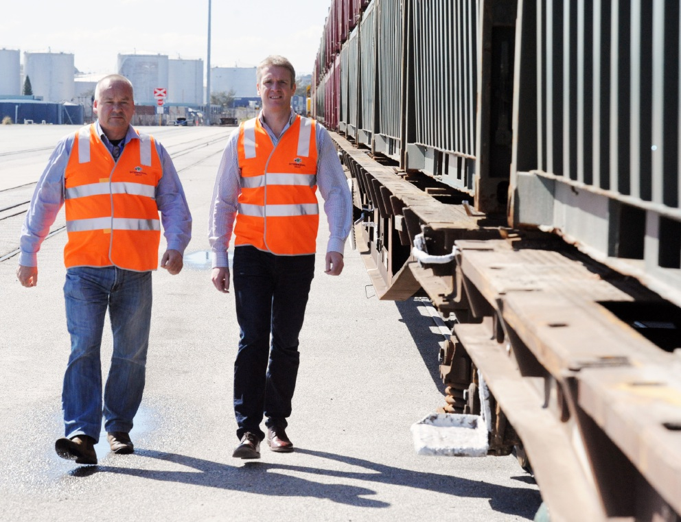 Intermodal Group general manager Darrin Smith and chief executive officer Ben Higgins want more containers to be carried by train.  Picture: Jon Bassett