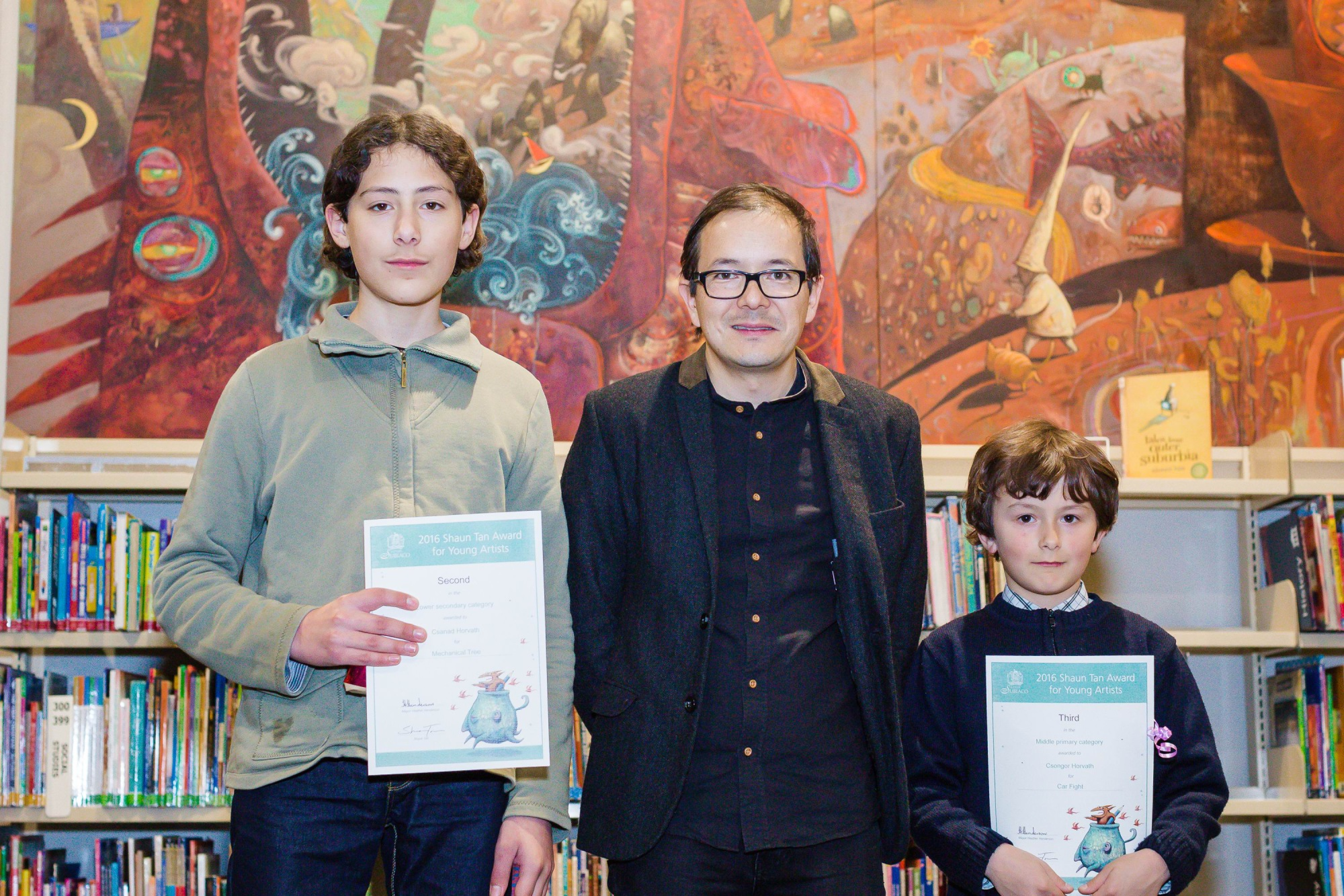 Csanad and Csongor Hovarth with Shaun Tan.