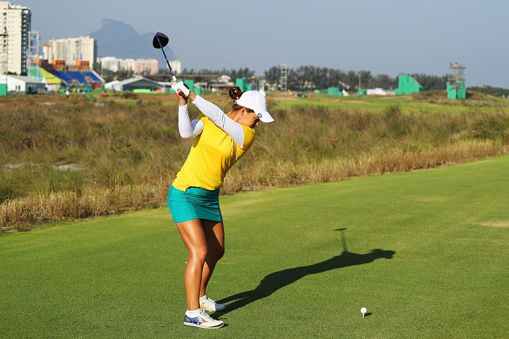 Minjee Lee tees off during the First Round of Women's Golf on Day 12 of the Rio Olympics. Picture: Scott Halleran/Getty Images