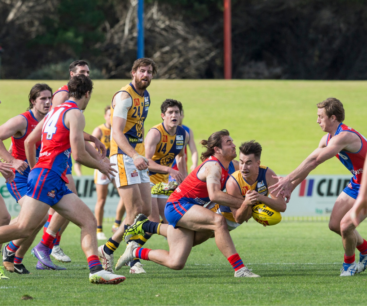 West Perth's Aaron Black tackles Claremont's Jake Murphy. Picture: Dan White