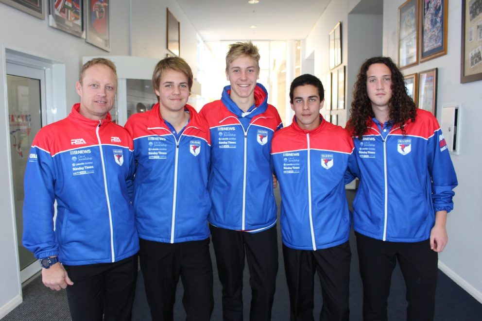 West Perth colts coach Craig  Thomas with Bailey Chalmers, Oscar Allen, Dylan Carr and Josh Hunter.
