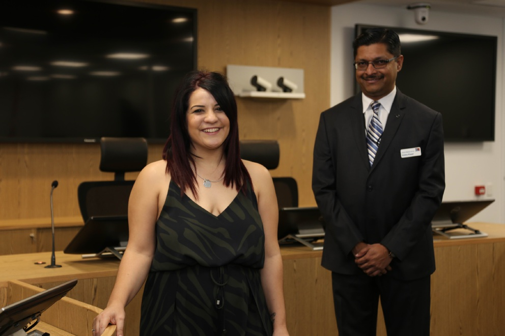 Law student Concetta Macri with law co-ordinator Krishna Prasad.