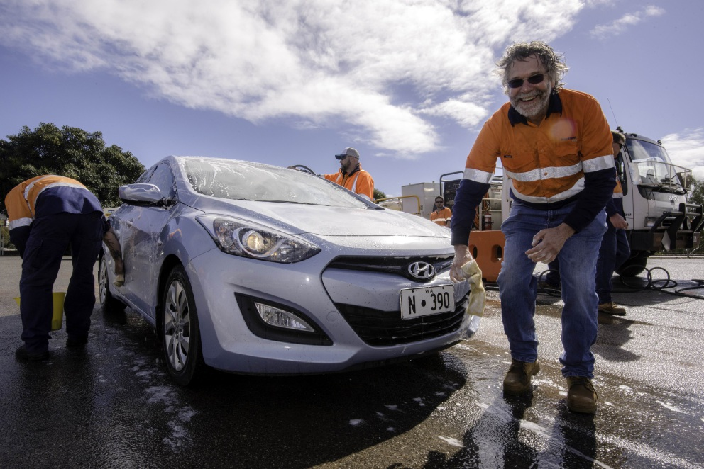 Brookfield Rail environmental specialist John Morrell at the car wash day.