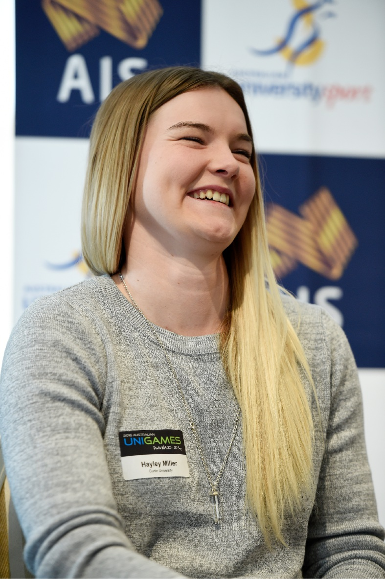Hayley Miller at the Perth Uni Games launch. Pictures: Jon Hewson