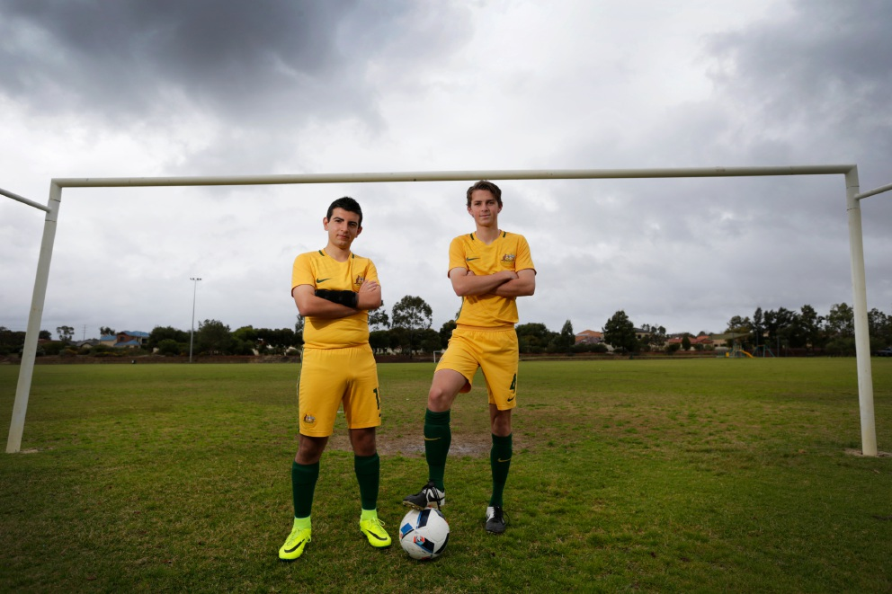 Balcatta's Alessandro La Verghetta (15) and Nick Prescott (16) from Tapping. Picture: Andrew Ritchie.