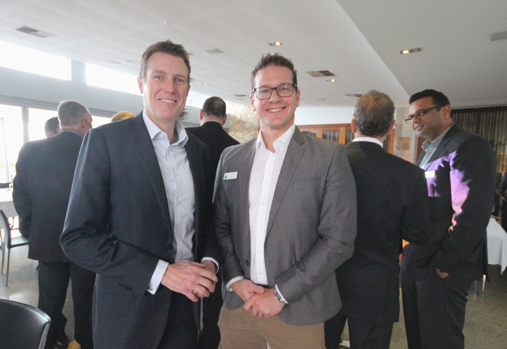 Pearce MHR Christian Porter and Wanneroo Business Association president Trent Carter.