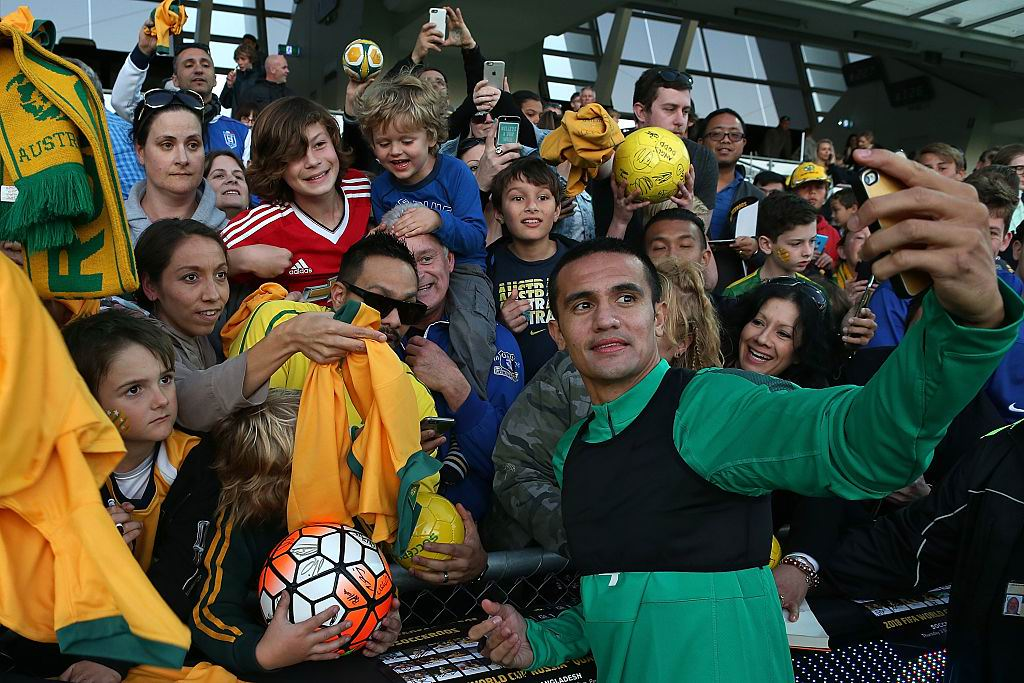 Tim Cahill during the  Socceroos fan day at Perth Oval last September. Picture: Paul Kane/Getty Images