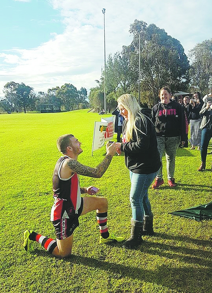 Bullsbrook footy player Jordan Pickles enjoyed his match-up on Saturday, proposing to his girlfriend post-game