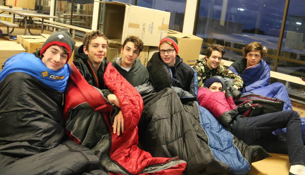 Year 10 boys the morning after the sleepout.