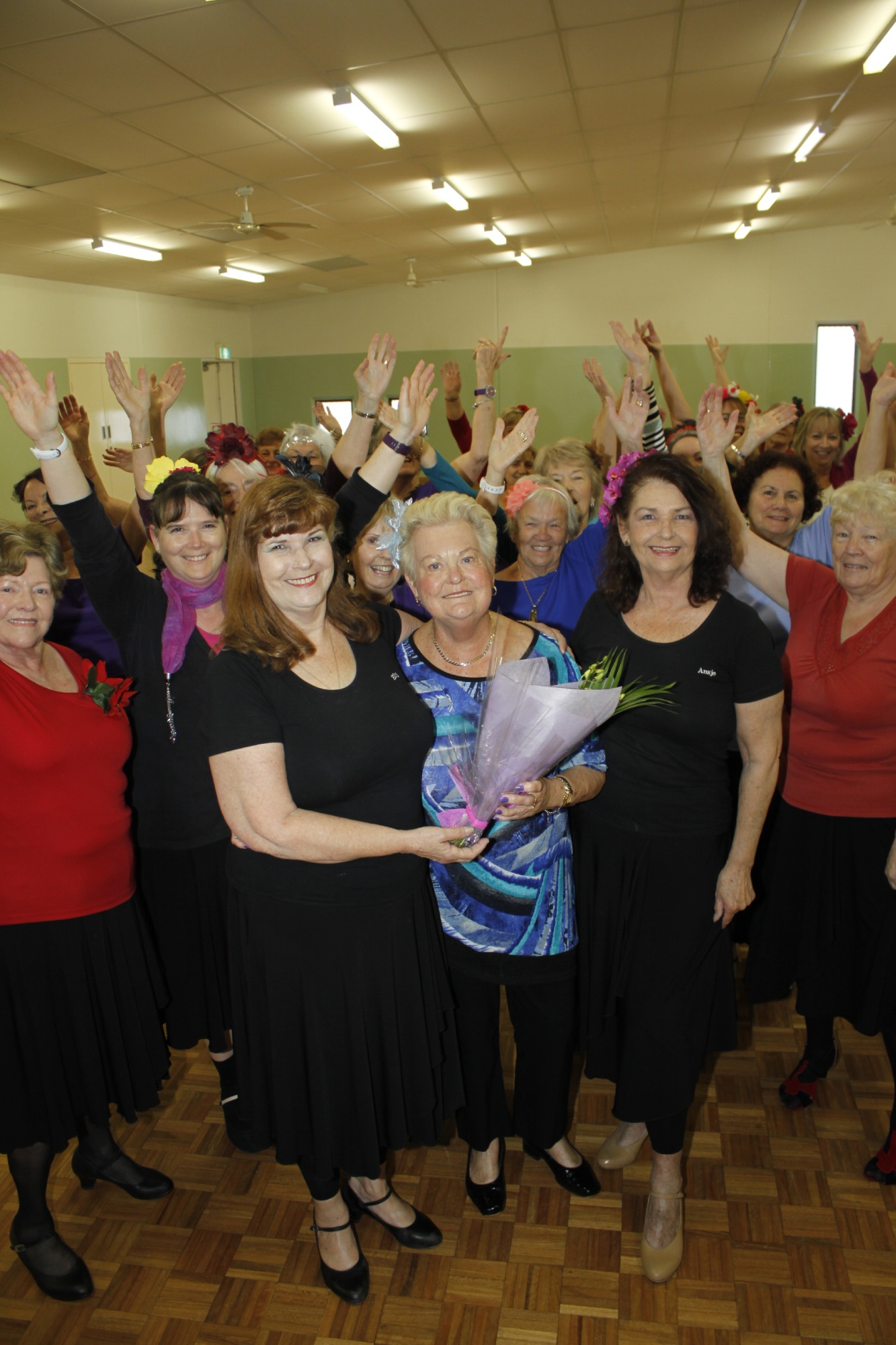 Elly Burnham, Lesley Robson and Ansje Renshaw with Swing and Sway dancing students.