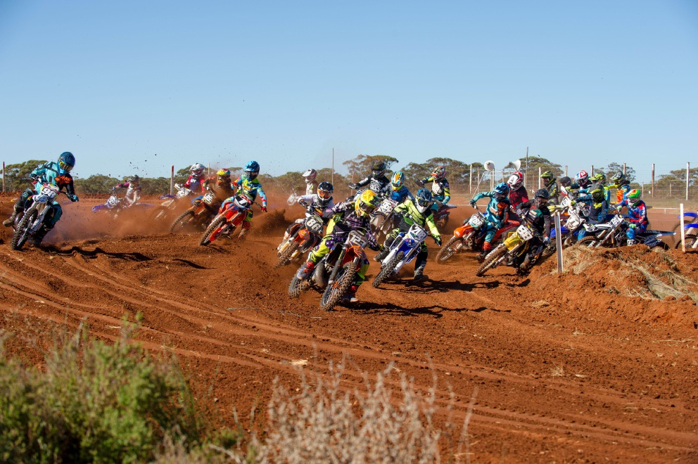 David Birch gets the holeshot riding in the MX2 class. Picture: True Spirit Photos/Gordon Pettigrew