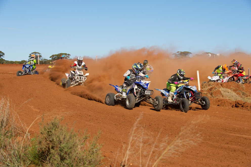 Luke Capocreco and Michael Murphy battle for the lead in the quad class. Picture: True Spirit Photos/Gordon Pettigrew