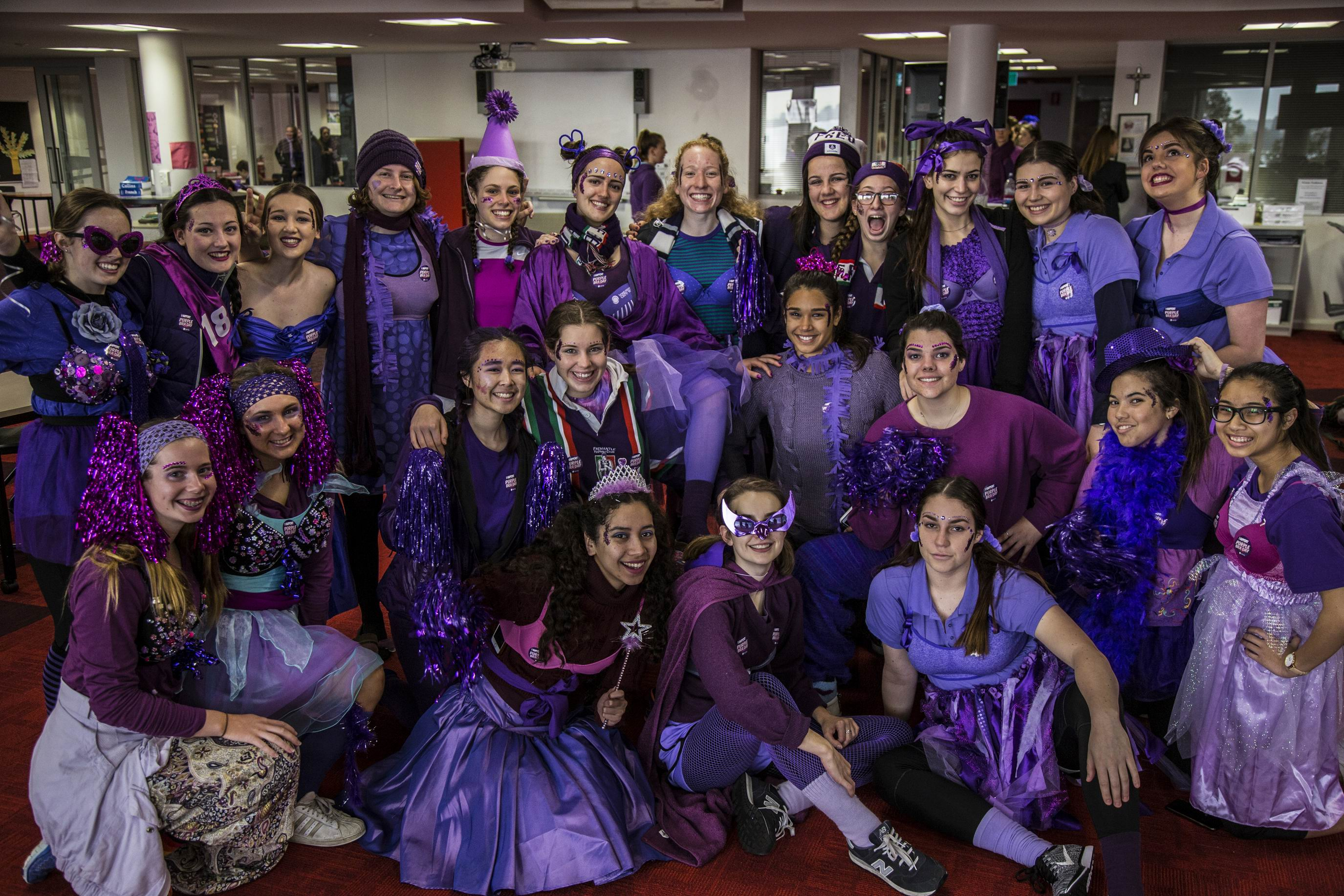 Santa Maria students get purple for cancer cause